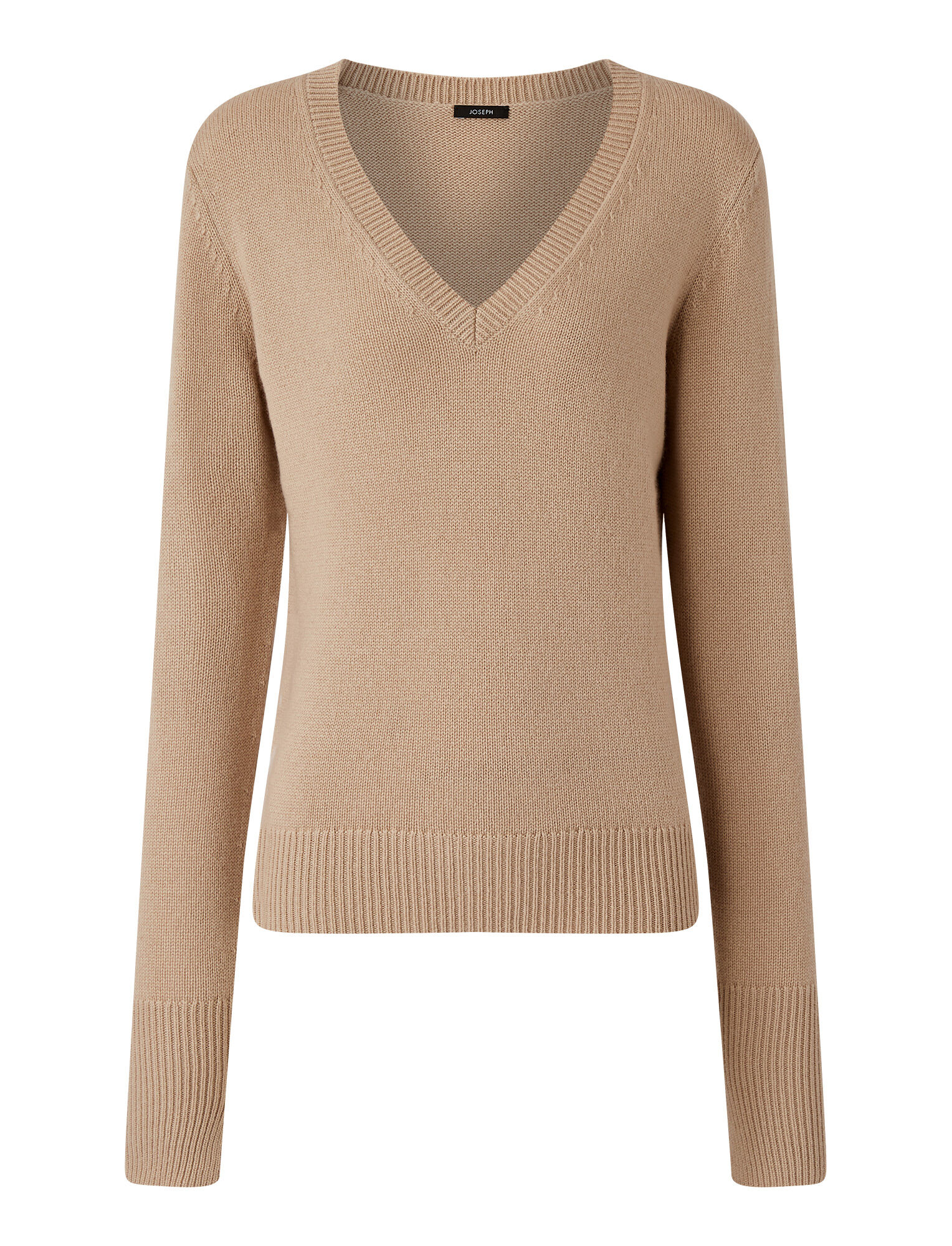 Joseph, Pure Cashmere V Neck Jumper, in CHAMPAGNE