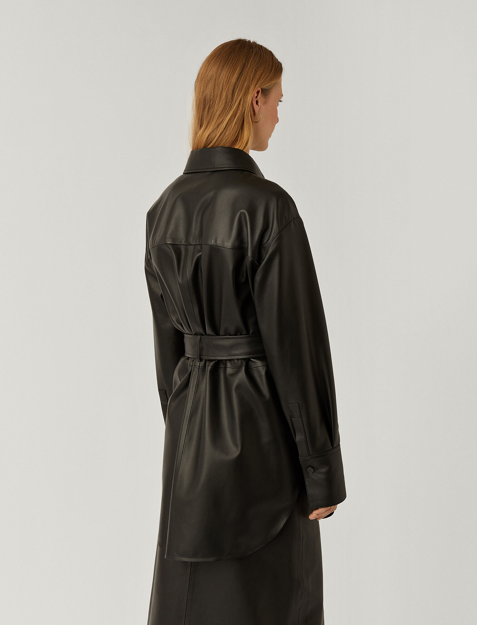 Joseph, Nappa Leather Jala Shirt, in BLACK