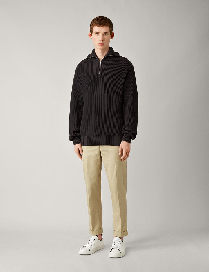 Joseph, High Nk Zip-Cote Anglaise, in CHARCOAL