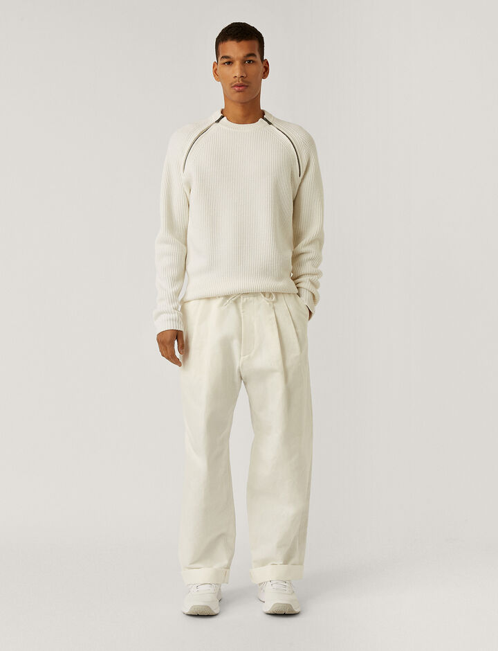 Joseph, Cotton Linen Gabardine Wave Trousers, in WHITE