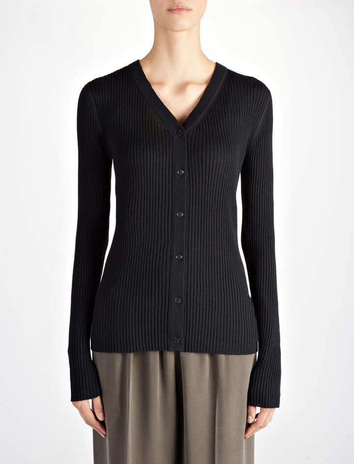 Joseph, Wool Silk Cash Rib V Neck Cardigan, in BLACK