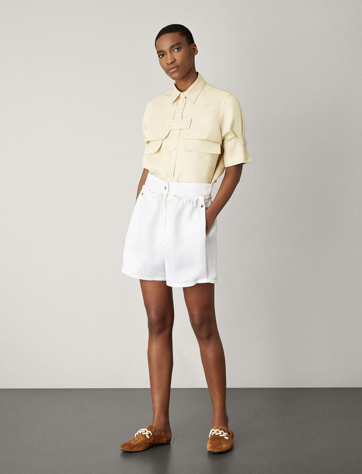 Joseph, Pete Fluid Ramie Shorts, in WHITE
