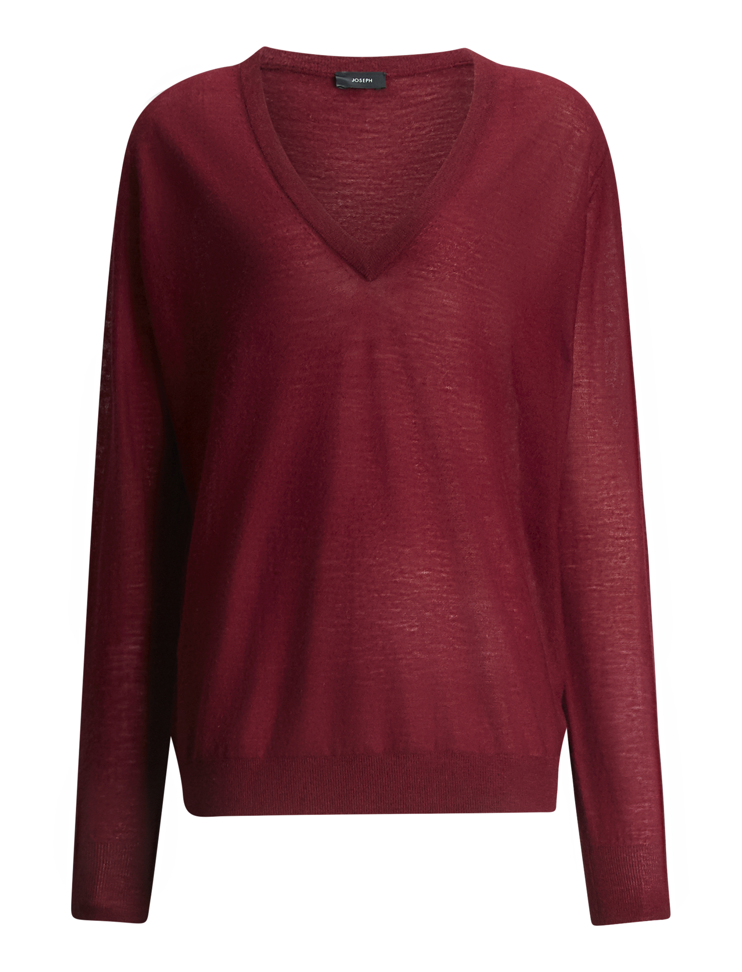 Joseph, V Neck Cashair Knit, in GARNET