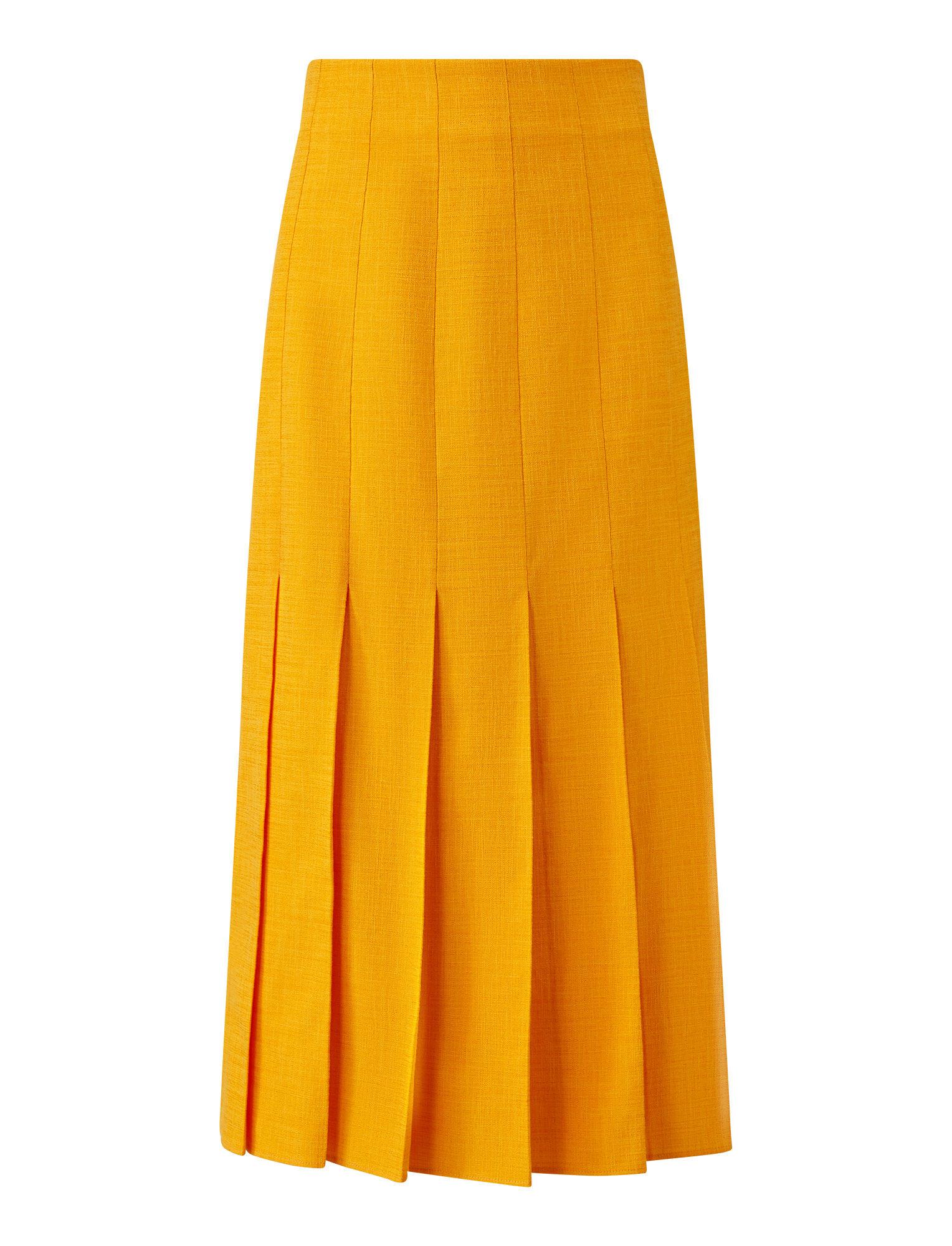 Joseph, Saari Shantung Linen Skirt, in TANGERINE