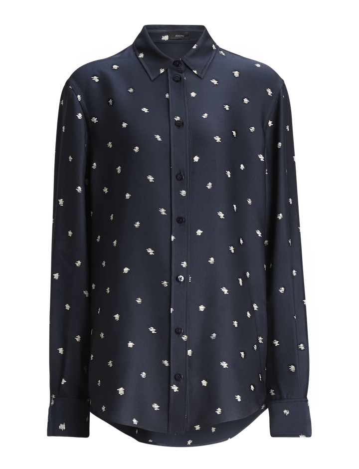 Joseph, New Garçon Scribble Spot Blouse, in NAVY