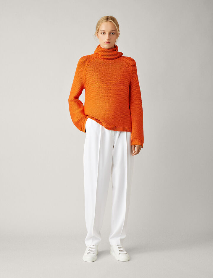 Joseph, Roll Neck Chunky Cable Mix Knit, in CARROT