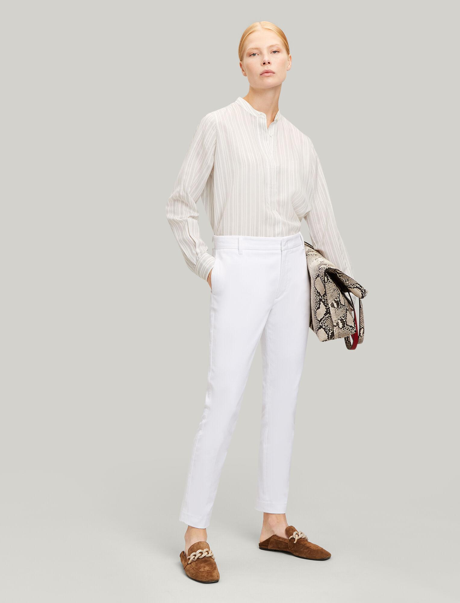 Joseph, Zoom Drill Stretch Trousers, in WHITE