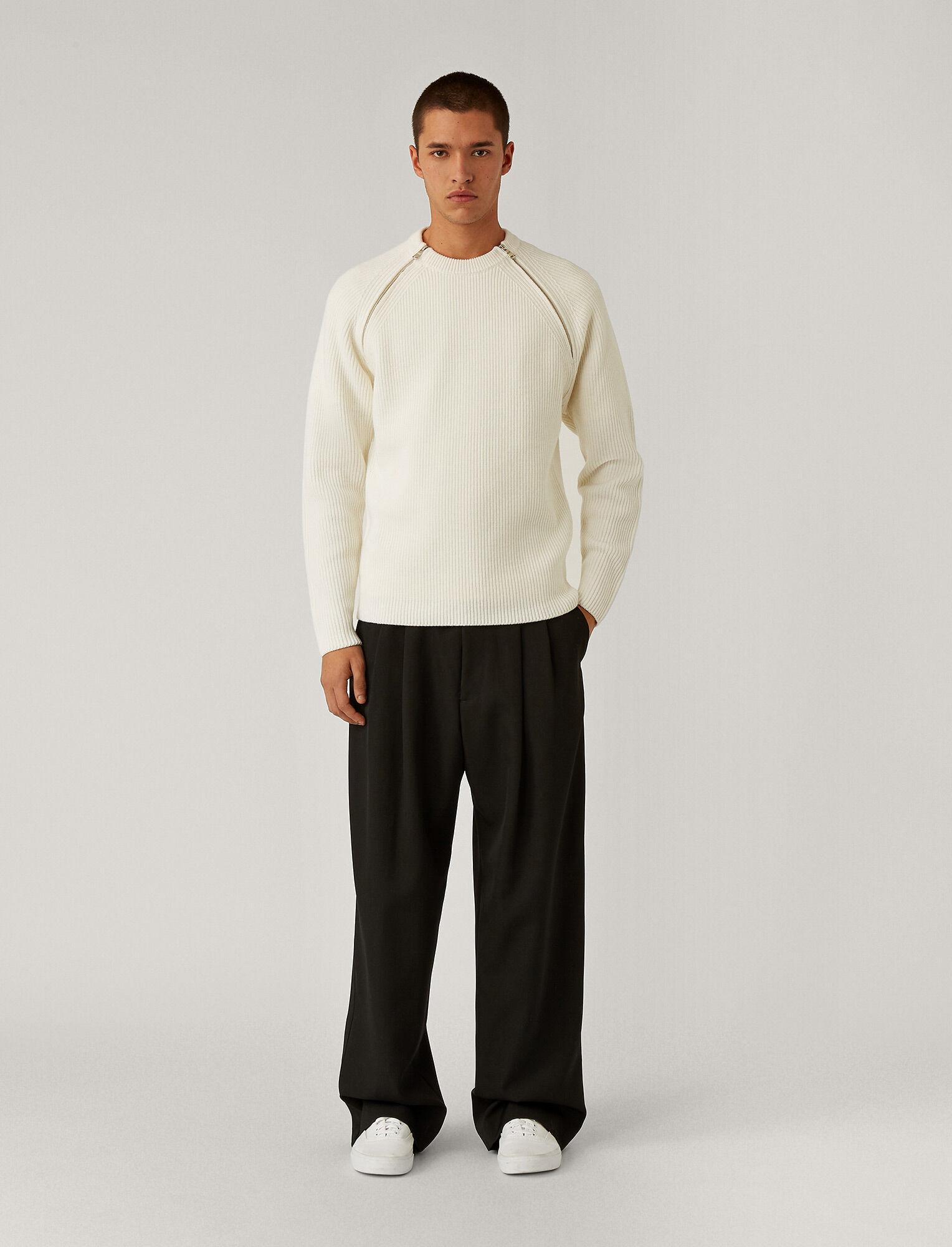 Joseph, Zip Merinos Knit, in White