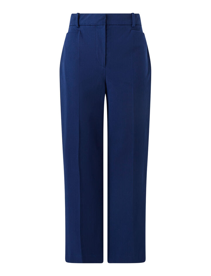 Joseph, Cotton Stretch Sloe Trousers, in COBALT BLUE