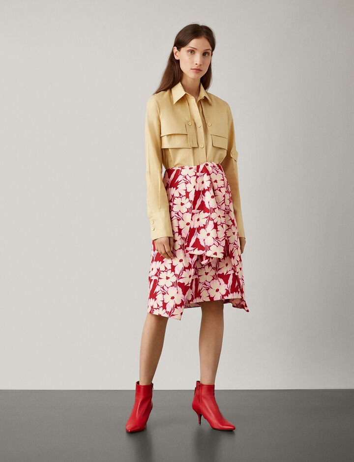 Joseph, Clive Cotton Print Skirt, in CRIMSON
