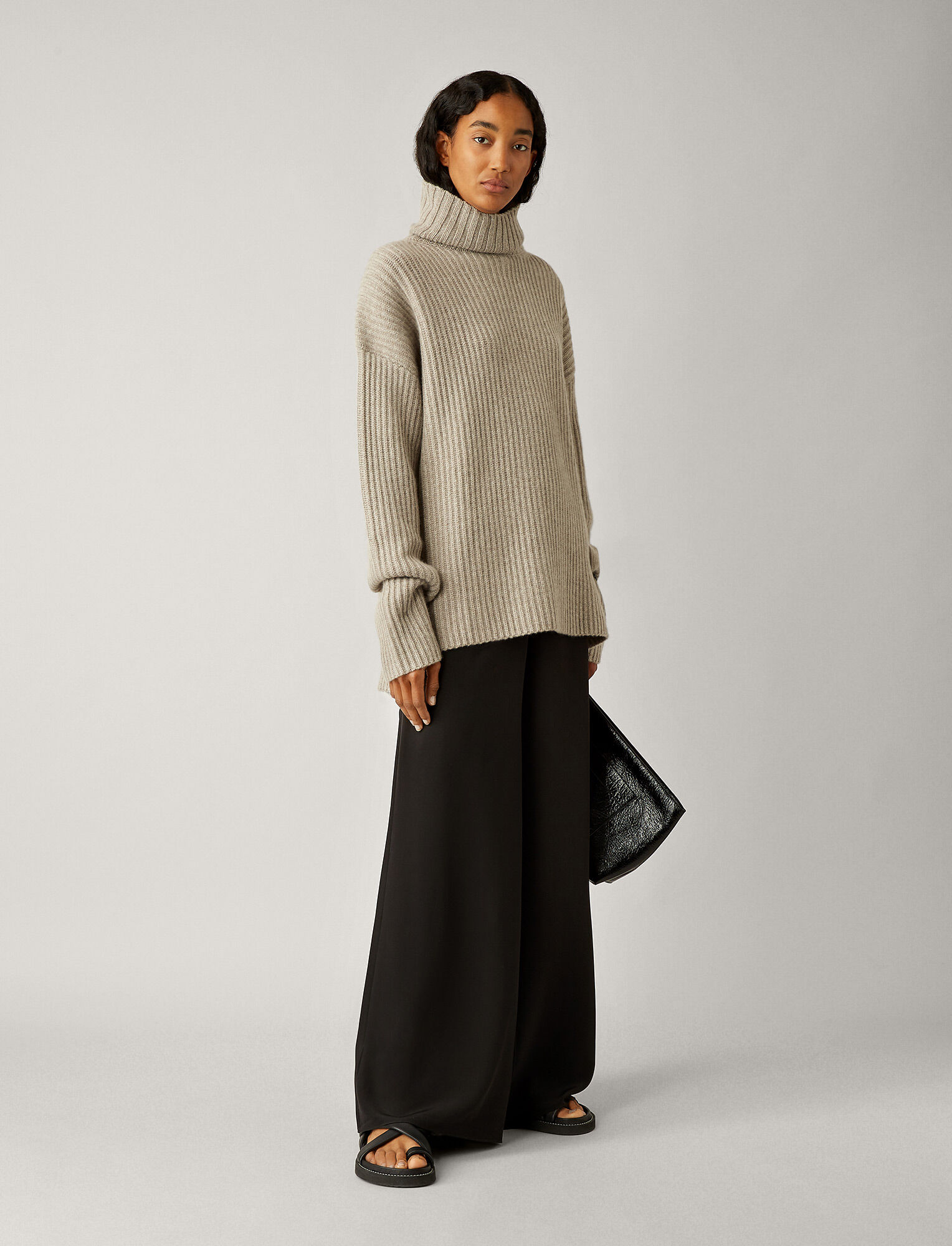 Joseph, High Neck Cashmere Luxe Knit, in QUARTZ