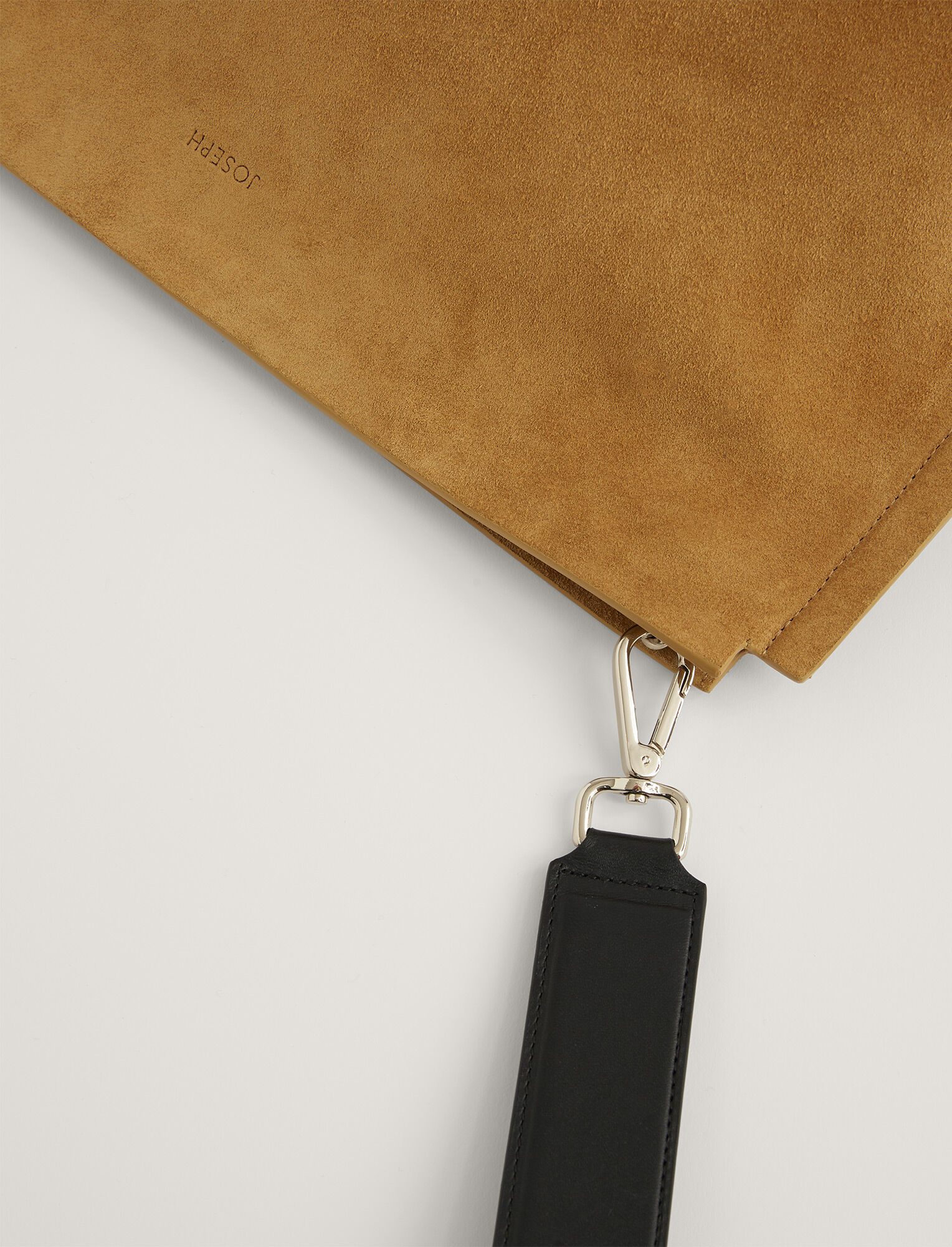 Joseph, Suede Clutch, in OAK