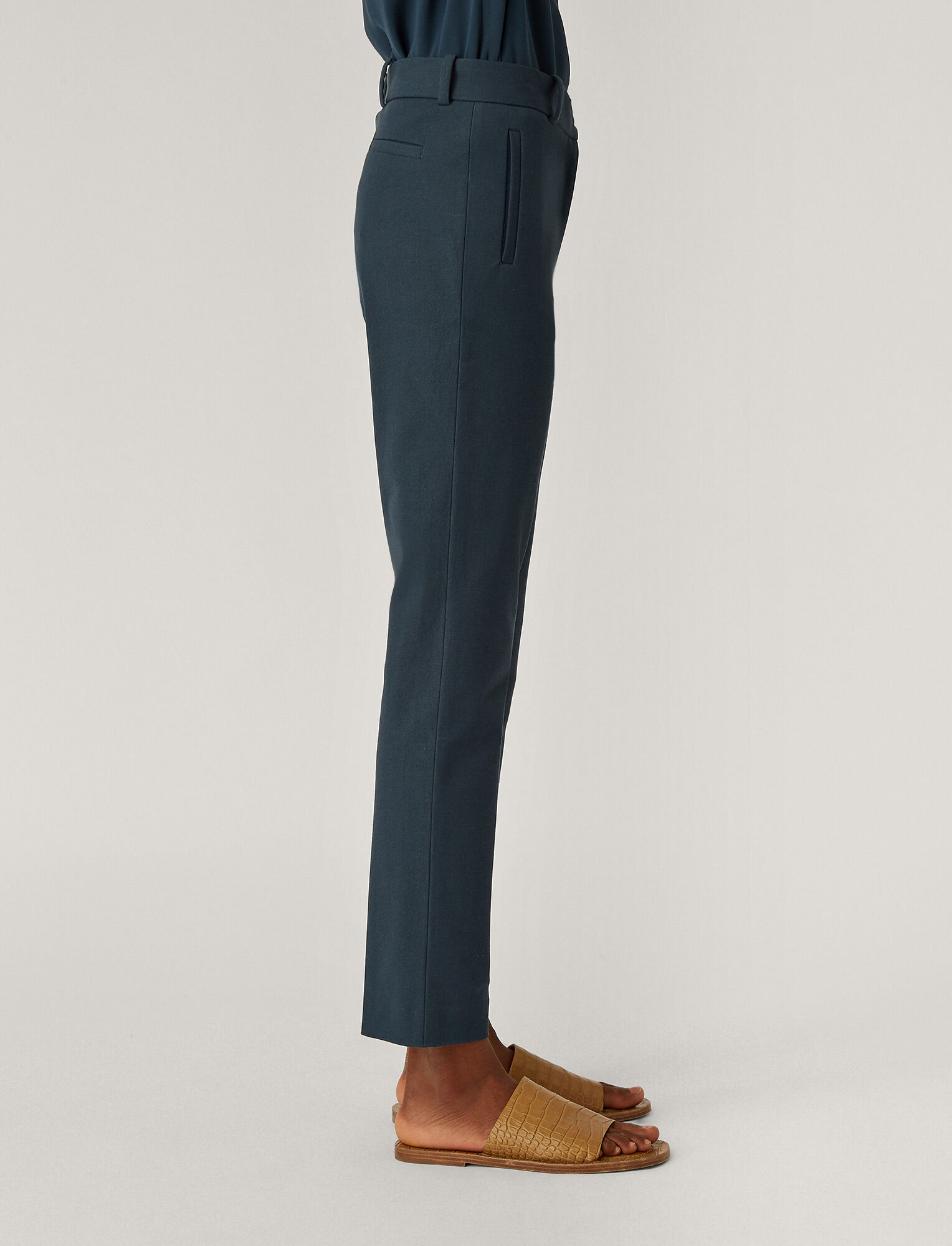 Joseph, New Eliston Gabardine Stretch Trousers, in Petrol