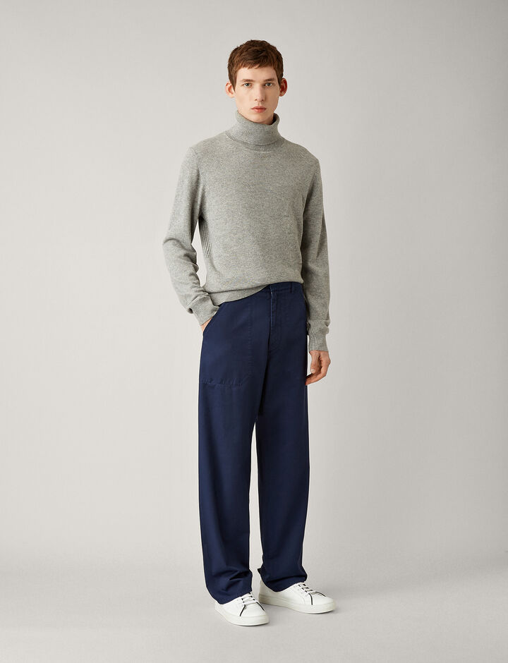 Joseph, Bridge Twill Cotton Dye Trousers, in NAVY