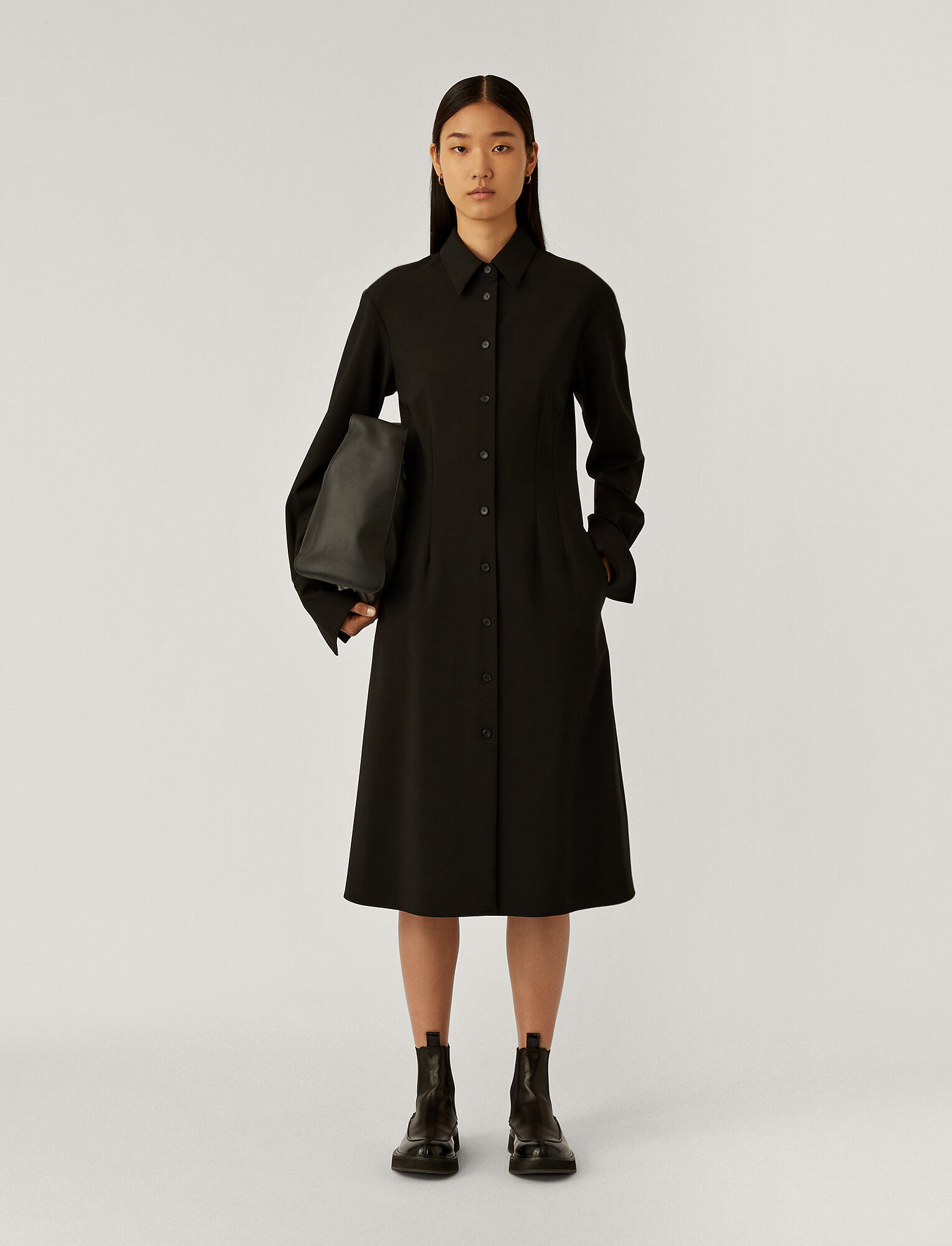 Joseph, Diling Light Wool Suiting Dress, in Black