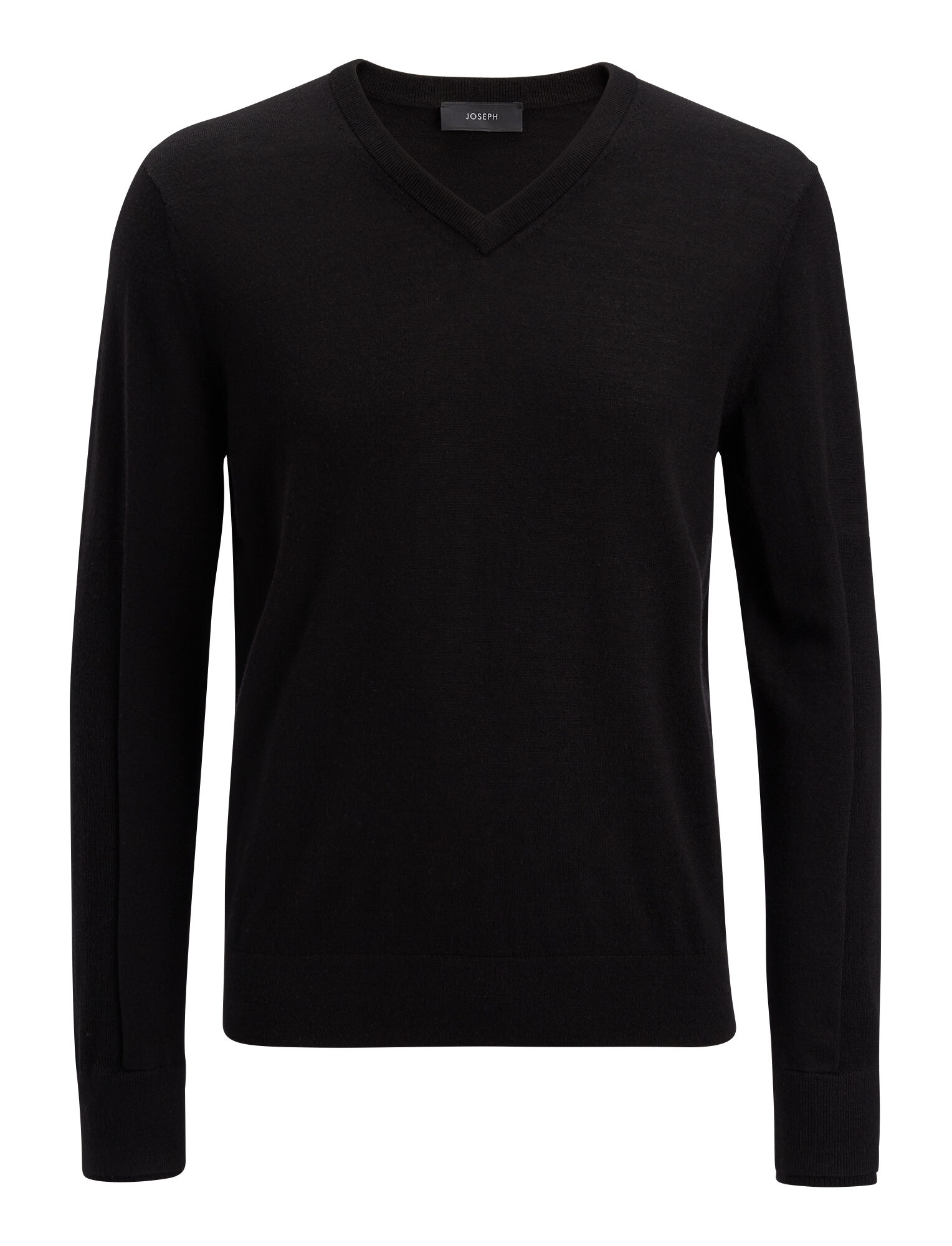 Joseph, Merinos V Neck + Rib Patch Knit, in BLACK