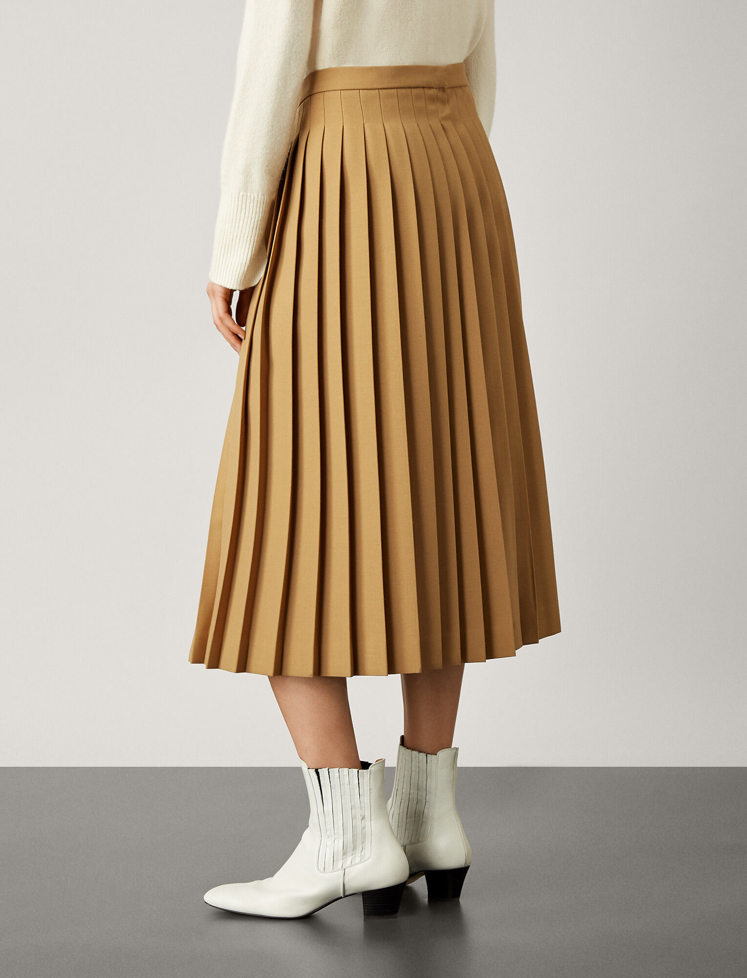 Joseph, Malvyn Wool Granite Skirt, in CAMEL