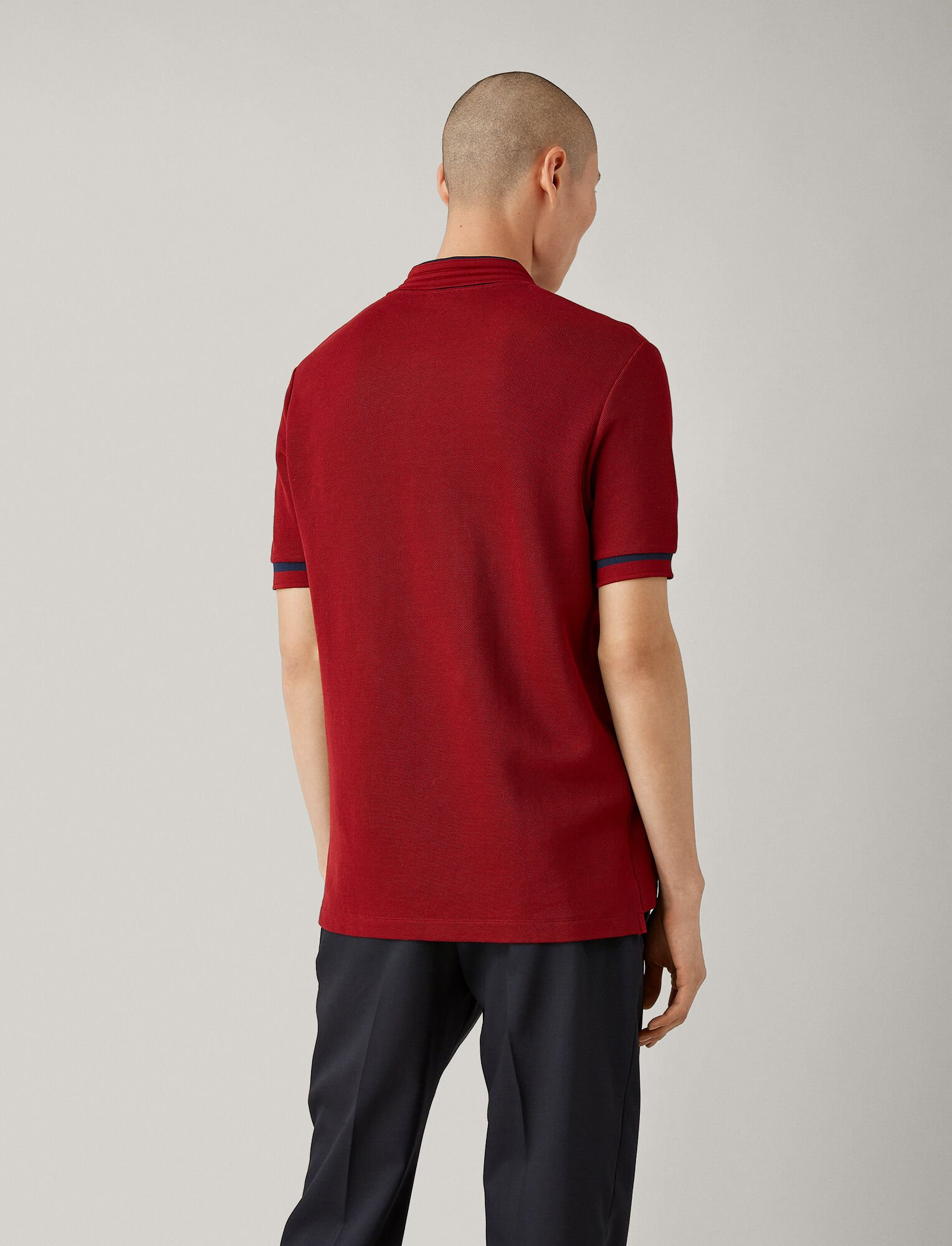Joseph, Polo Neck Pique Jersey Tee, in CLARET