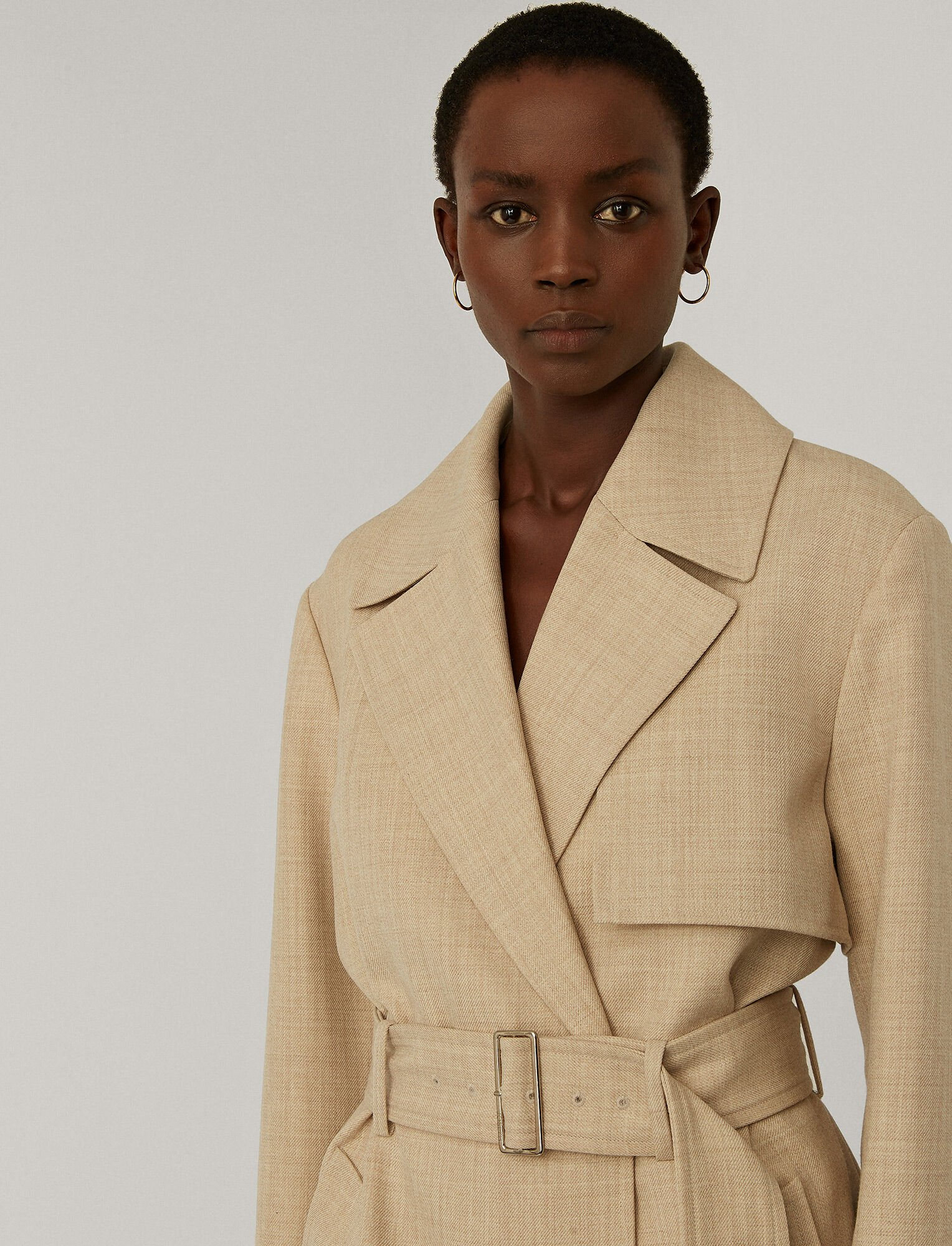 Joseph, Wool Twill Chasy Coat, in NATURAL