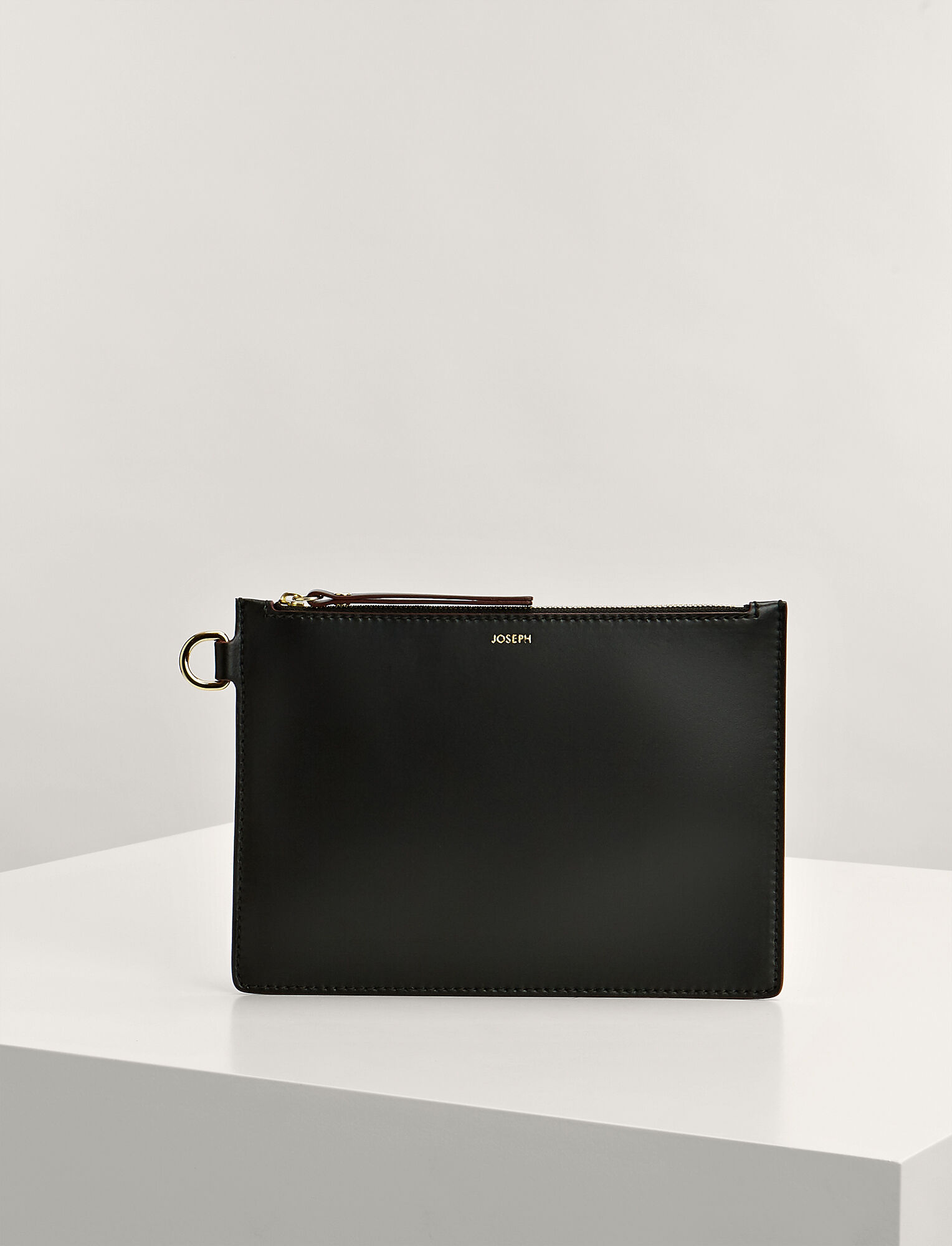Joseph, Calf Leather Large Pouch, in BLACK