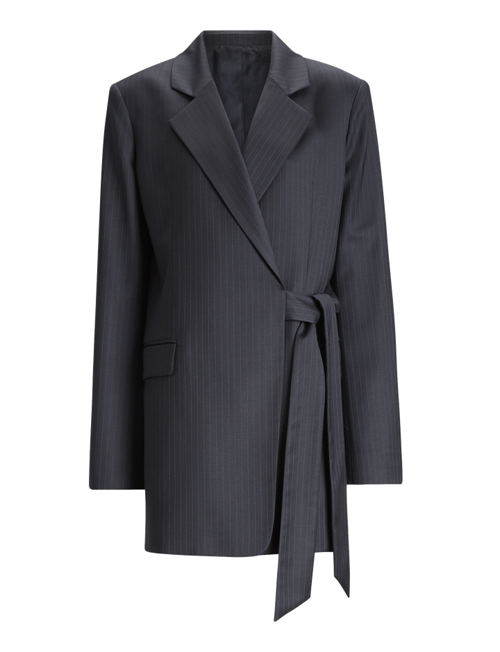 Joseph, Murmure Pinstripe Stretch Jacket, in NAVY