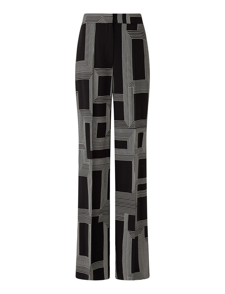 Joseph, Sanctuary Print Morissey Trousers, in Black/ecru
