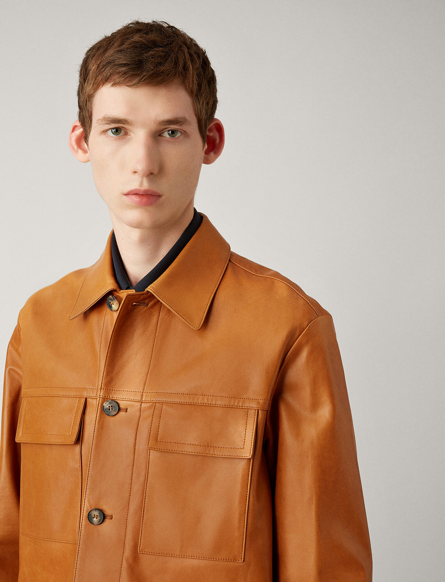 Joseph, Stephen Leather Overshirt, in BRICK