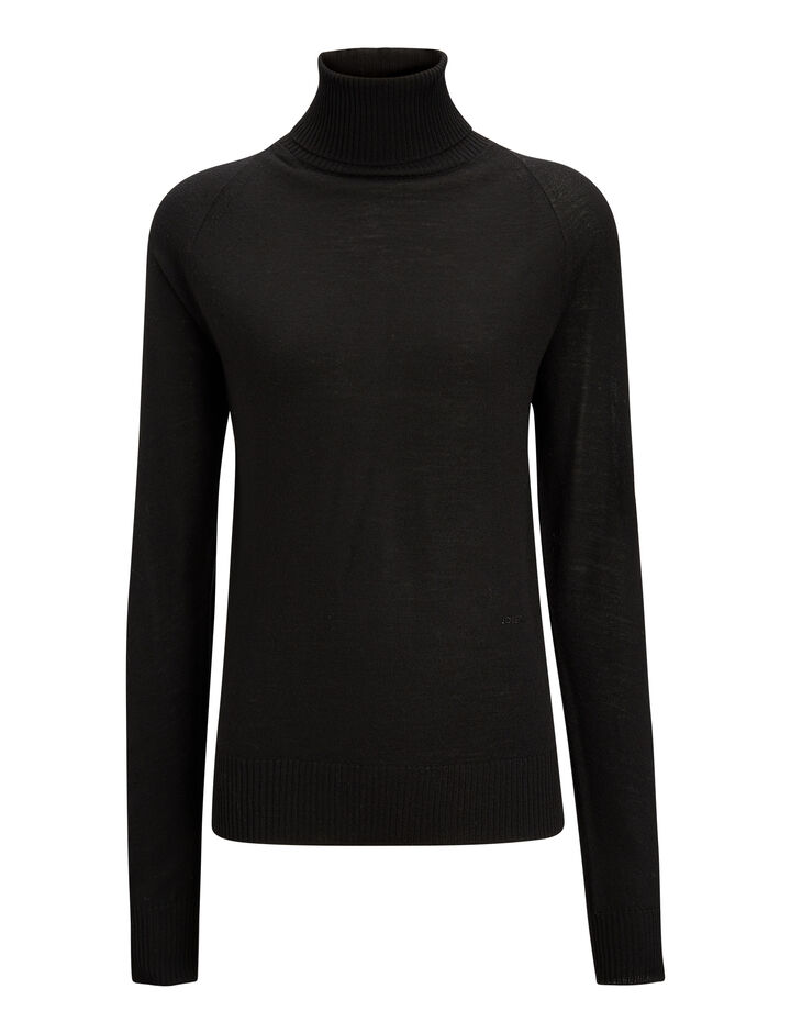 Joseph, Turtle Neck Fine Merinos Knit, in BLACK