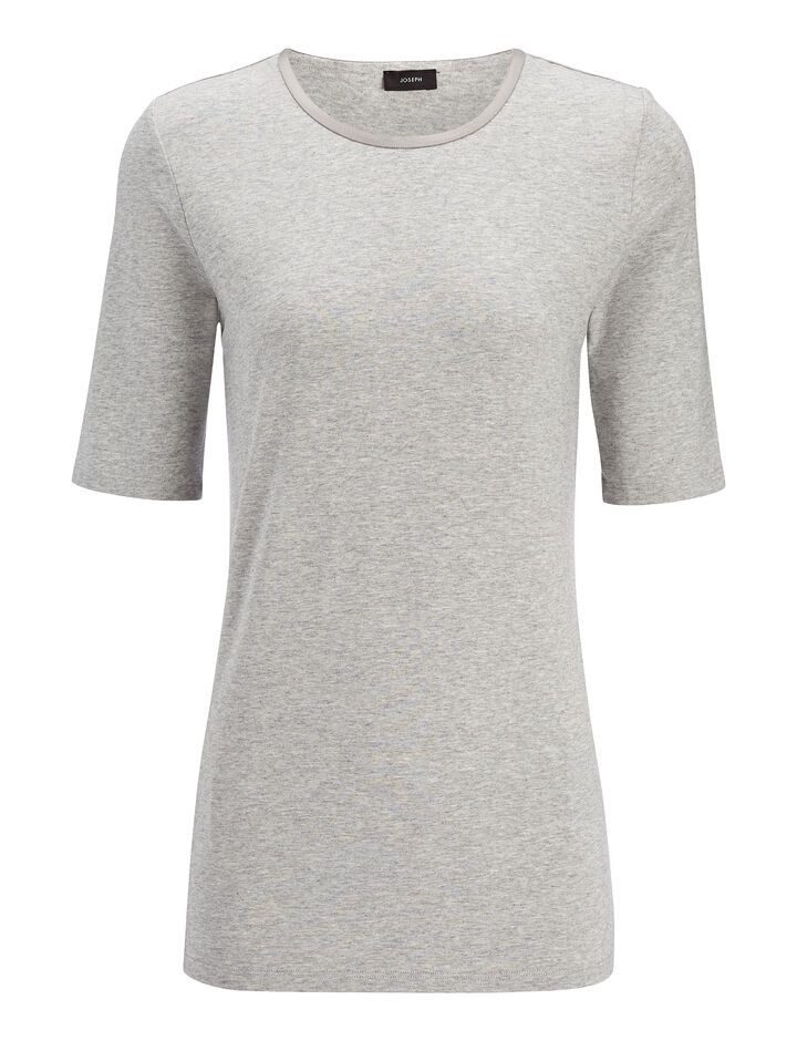 Joseph, Cotton Lyocell Stretch Top, in GREY CHINE