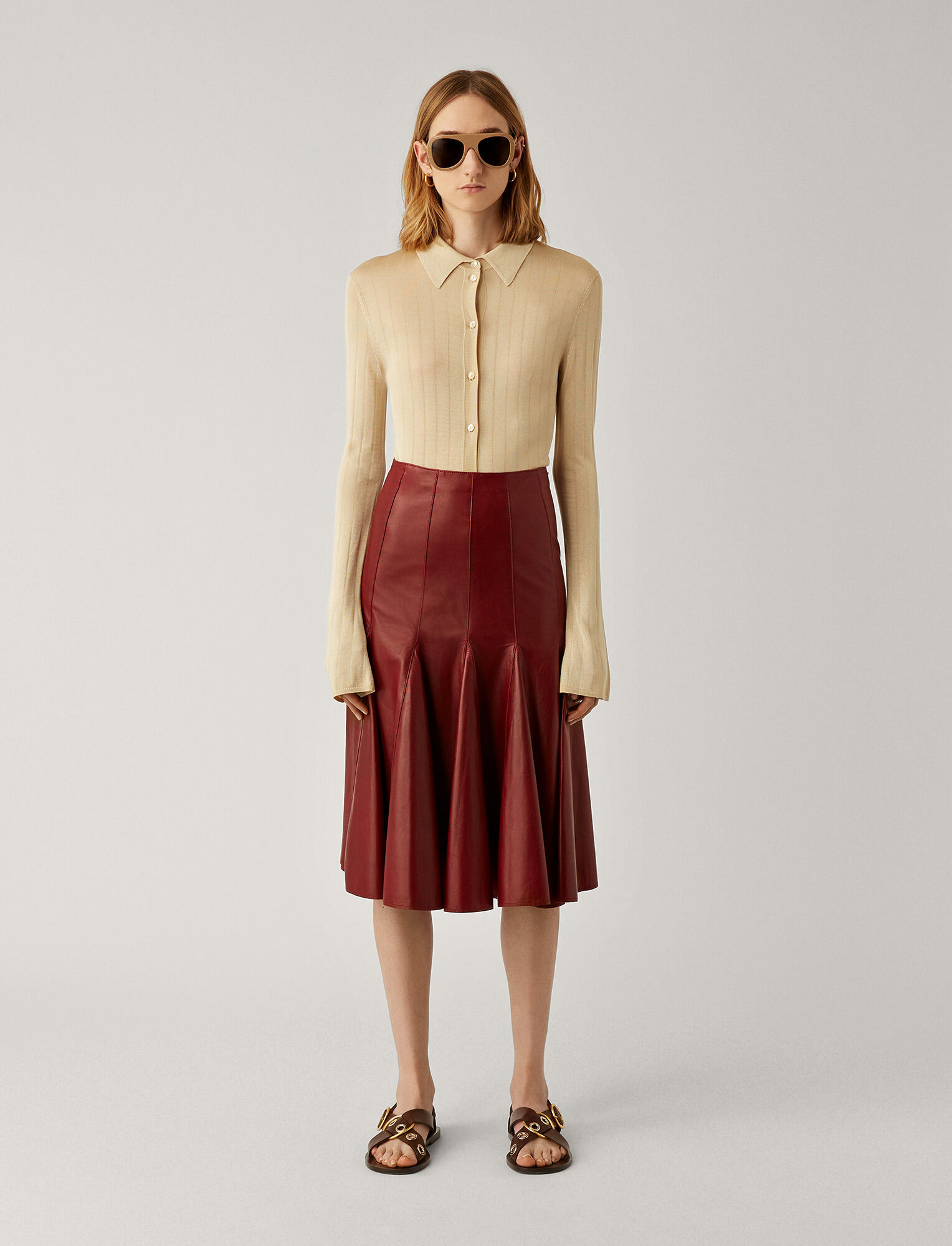 Joseph, Sid Nappa Leather Skirt, in AMARONE