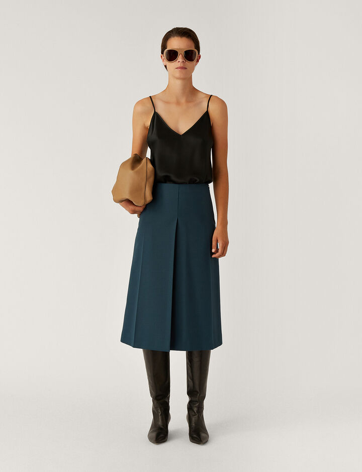 Joseph, Skyl Wool Granite Skirts, in Petrol