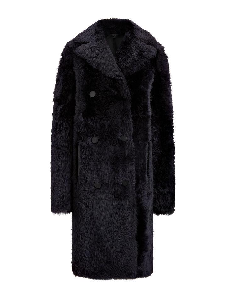 Joseph, New Hector Long Teddy Merinos Coat, in NAVY