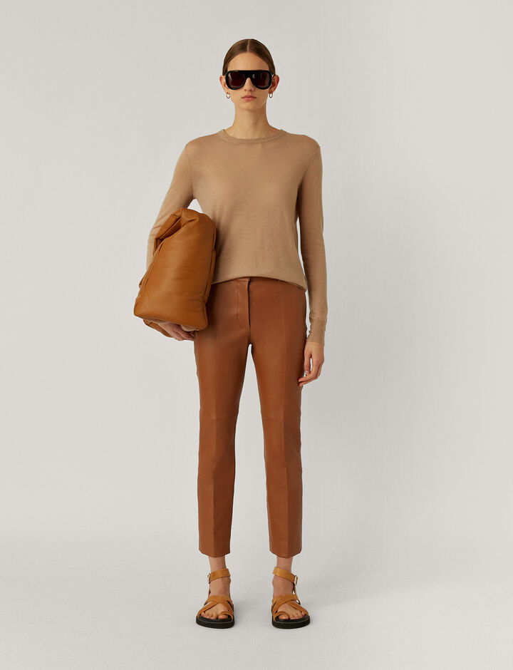 Joseph, Coleman-Leather Stretch, in CAMEL