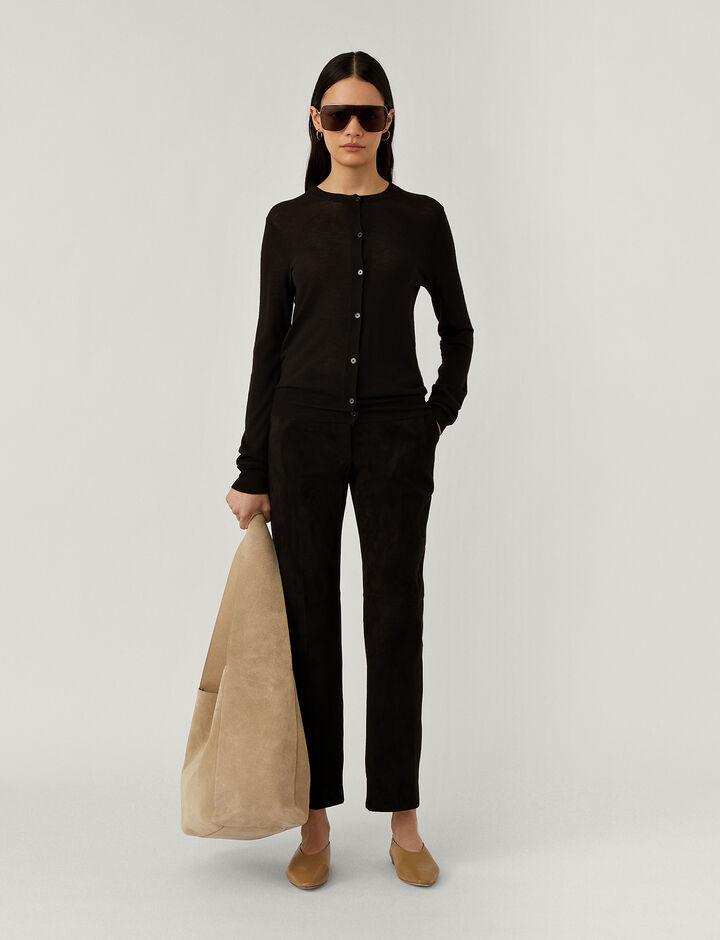 Joseph, Rd Nk Cardi Cashair Knitwear, in Black