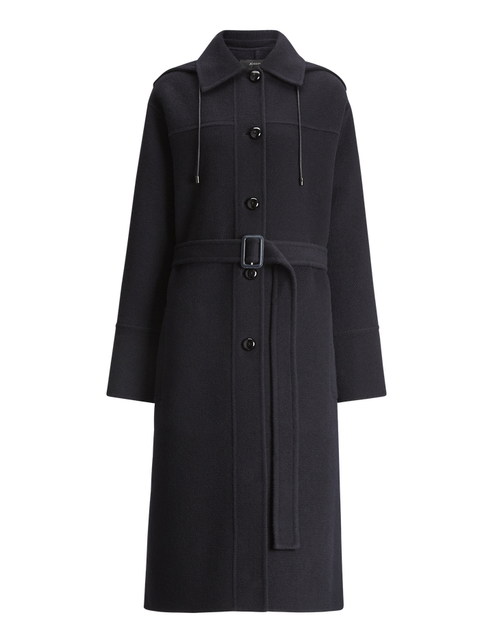 Joseph, Cargo Diagonal Double Face Coat, in NAVY