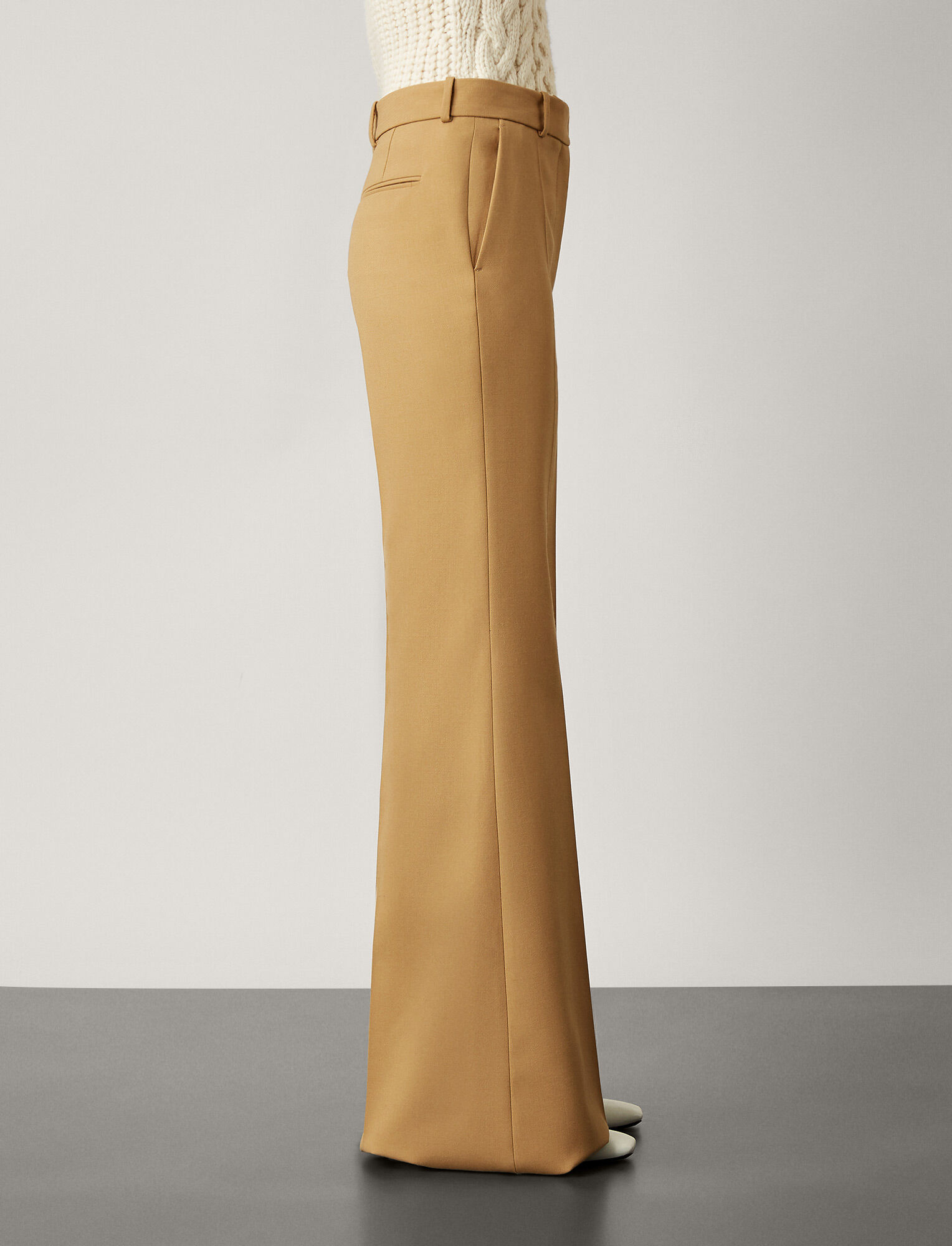 Joseph, Valmy Wool Granite Trousers, in CAMEL