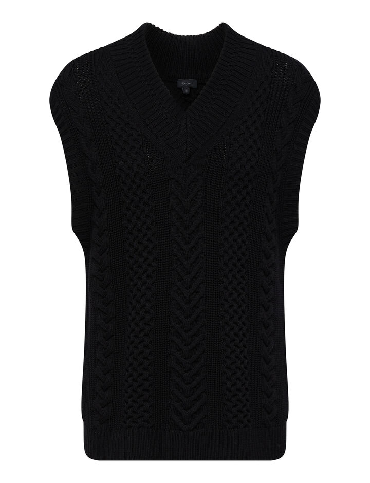 Joseph, Worsted Cable Knit, in Black