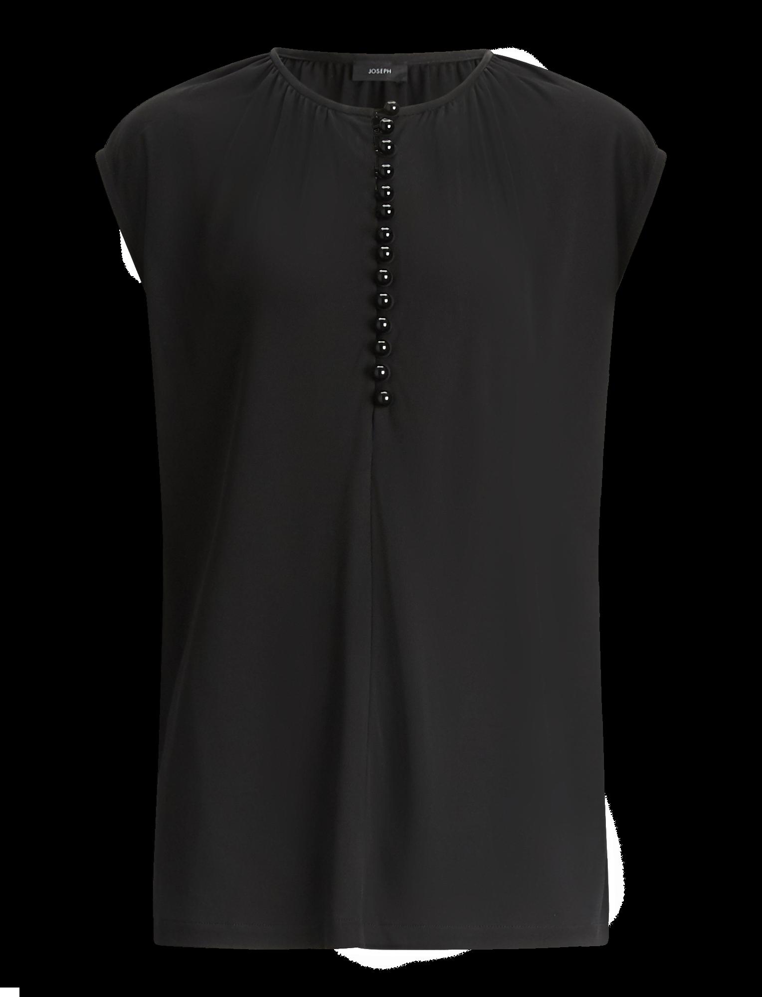 Joseph, Button Top Crepe Jersey, in BLACK
