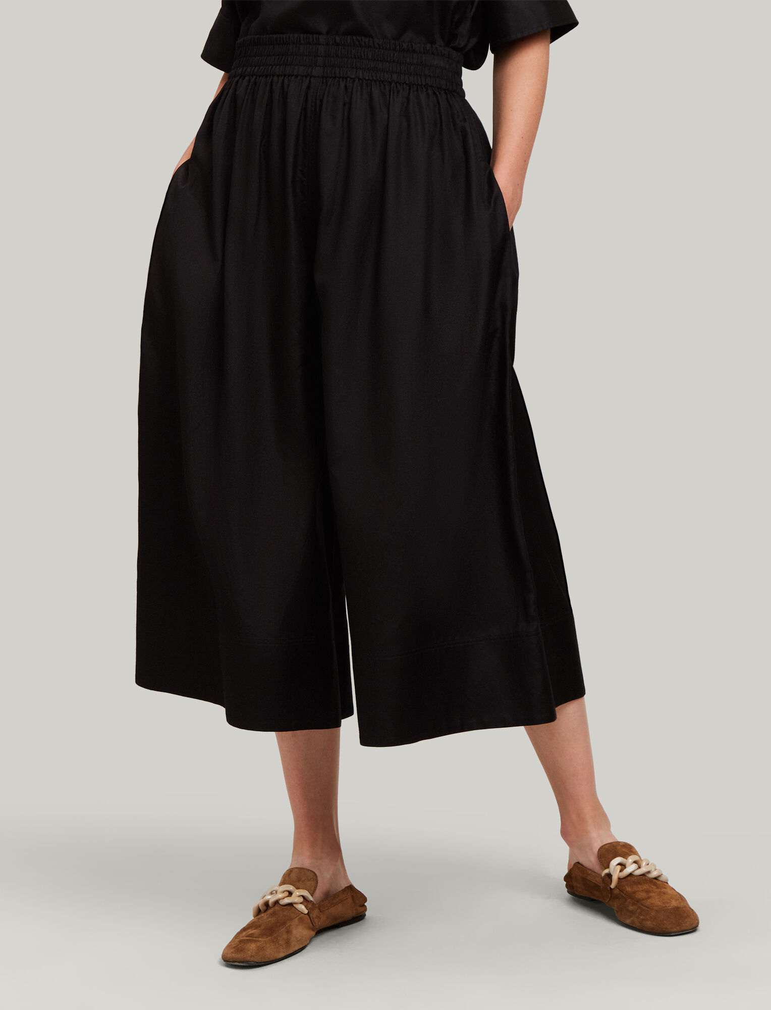 Joseph, Barlon Cotton Silk Shirting Trousers, in BLACK