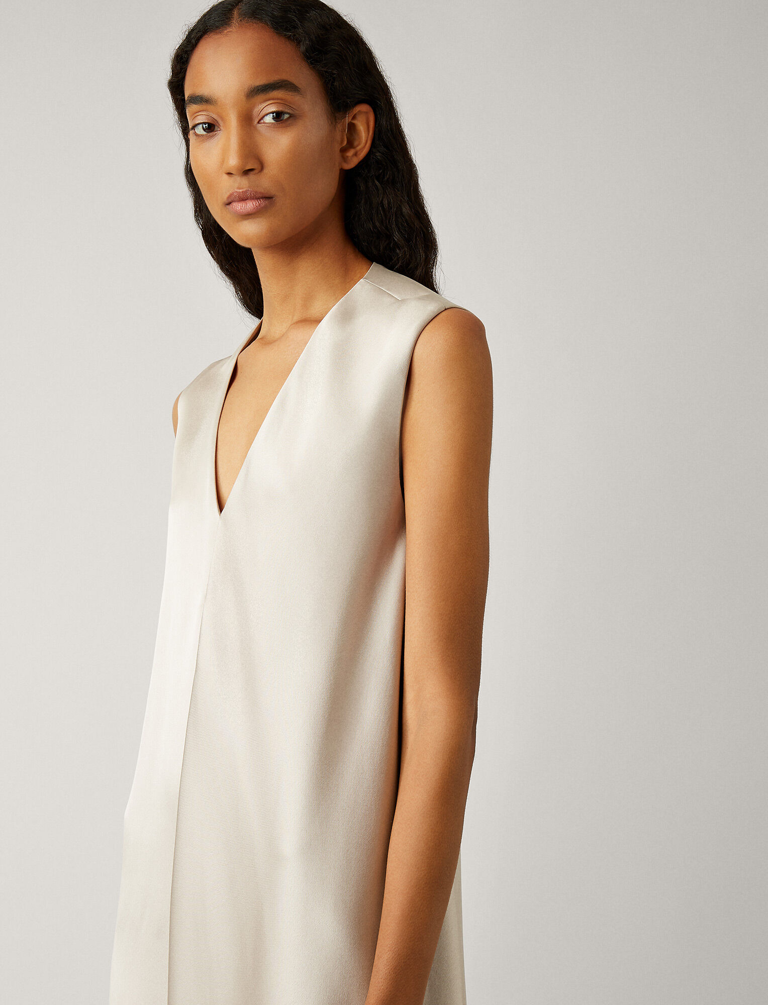 Joseph, Carrol Satin Double Face Dress, in PEARL