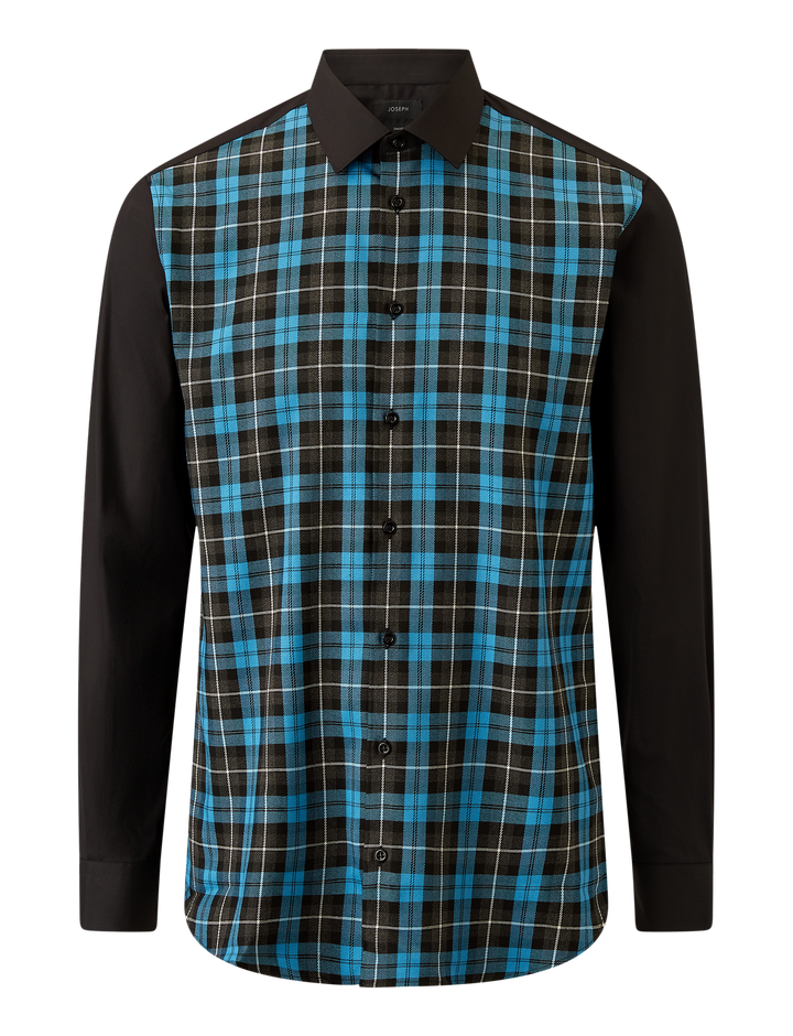 Joseph, Jacobs Graphic Check Poplin Stretch Shirt, in PLASTIC BLUE
