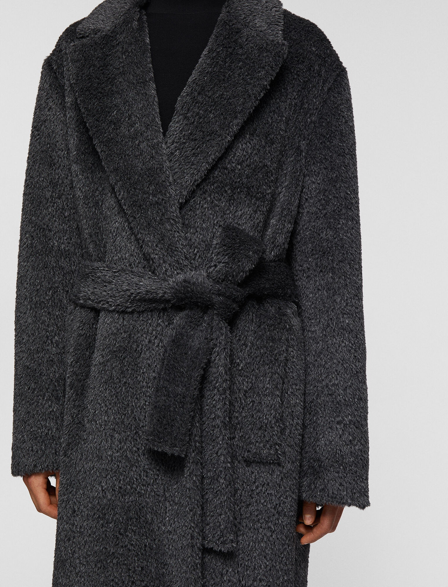 Joseph, Textured Wool Alpaca Cayla Coat, in Nickel
