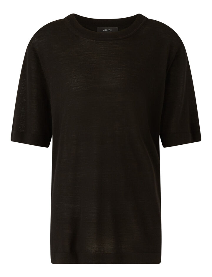 Joseph, Ss Tee Cashair Knitwear, in Black