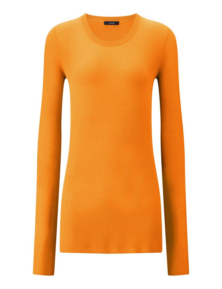 Joseph, Rd Nk Ls-Sheer Cotton, in TANGERINE