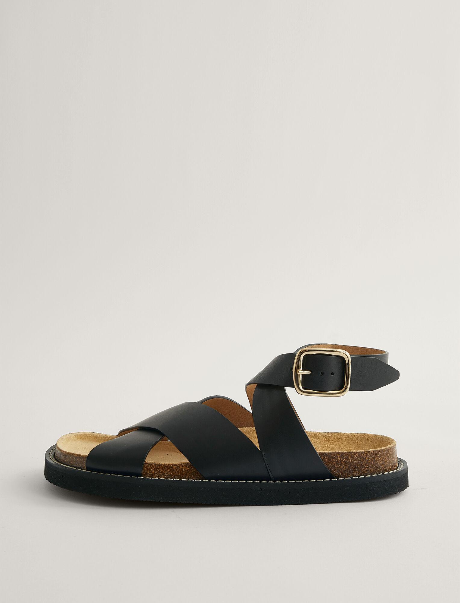 Joseph, Fussbett Cross Ankle Strap Sandal, in BLACK