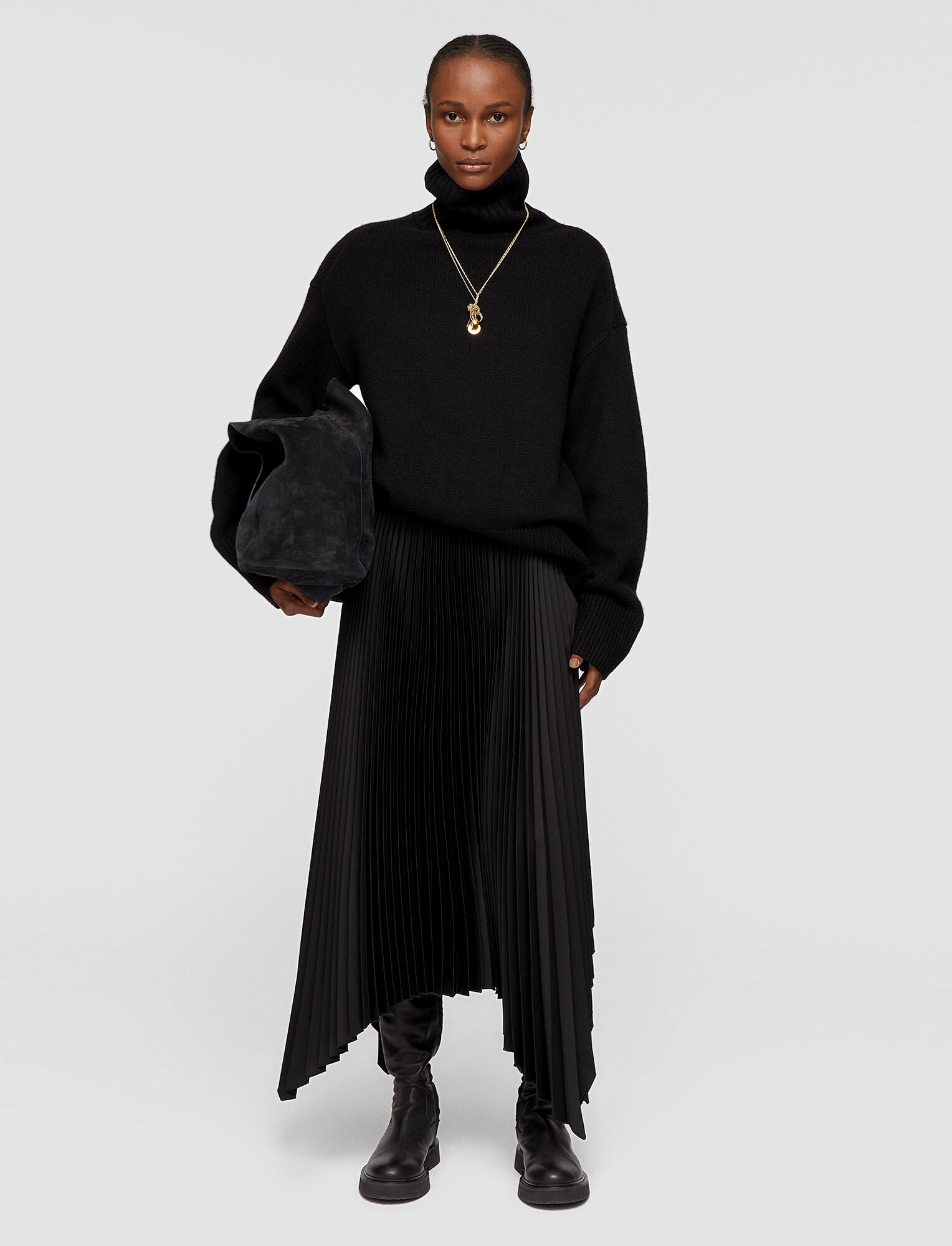Joseph, Knit Weave Plissé Ade Skirt, in BLACK