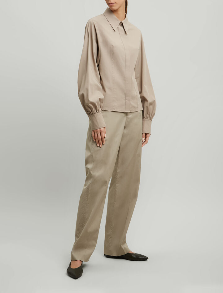 Joseph, Flora High Twist Shirting Blouse, in CEMENT