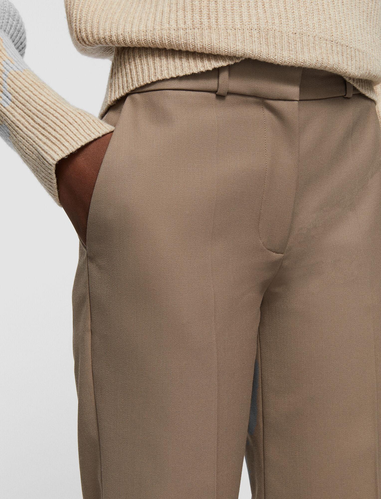 Joseph, Pantalon Morissey en laine douce granitée, in TAUPE