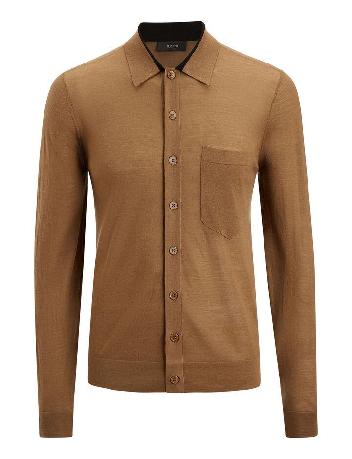 Joseph, Light Merinos Knit Shirt, in CAMEL