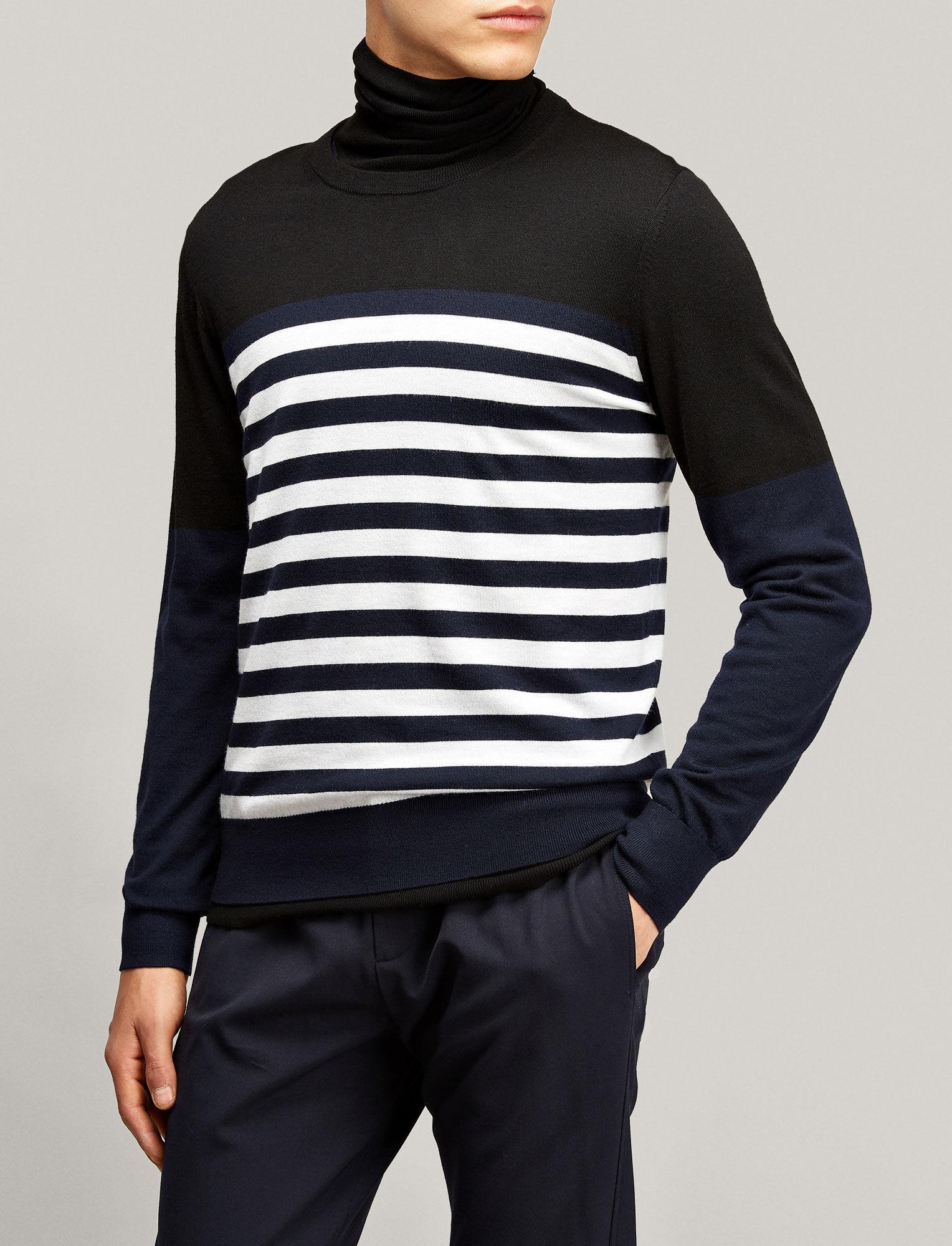 Joseph, Stripe Merinos Novelty Knit, in BLACK